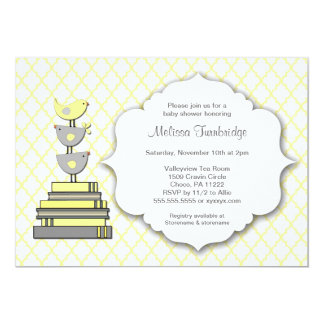 Birds Book Baby Shower Yellow and Grey Invites