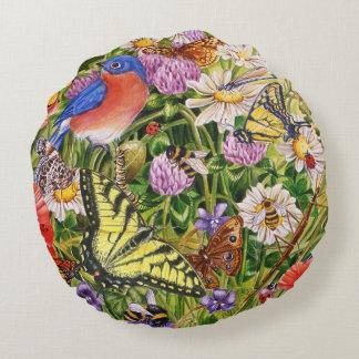 Birds, Butterflies and Bees Round Pillow