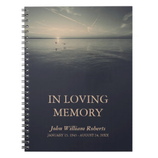 Birds by Ocean Sunrise In Loving Memory Guestbook Notebook