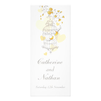 Birds cage yellow grey wedding dinner menu announcements