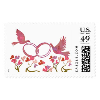 Birds carrying rings to their Tree maid of hearts Postage