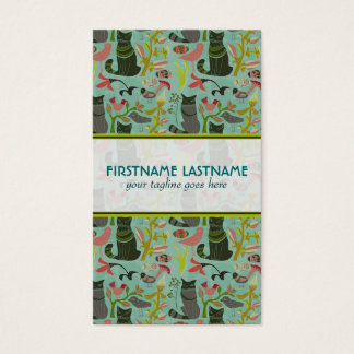 Birds Cats And Flowers Pastel Retro Pattern Business Card