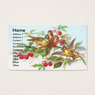 Birds & Cherries Victorian Trade Card