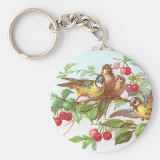 Birds & Cherries Victorian Trade Card Basic Round Button Keychain