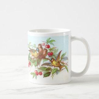 Birds & Cherries Victorian Trade Card Coffee Mug