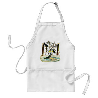 Birds chirping near a pool of water with wooden st aprons