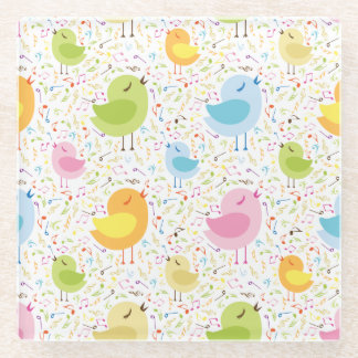 Birds Chirping with Musical Pattern Glass Coaster