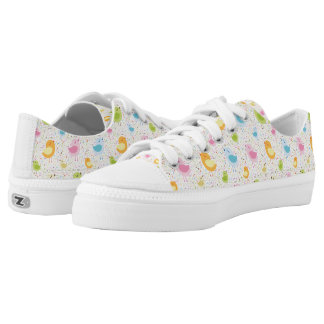 Birds Chirping with Musical Pattern Low-Top Sneakers