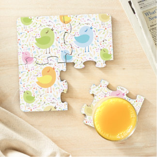 Birds Chirping with Musical Pattern Puzzle Coaster