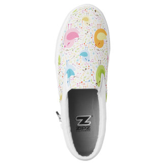 Birds Chirping with Musical Pattern Slip-On Sneakers