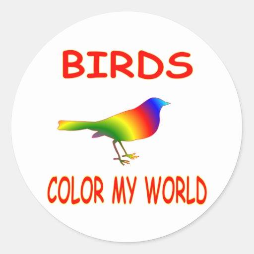Birds Color My World Round Stickers