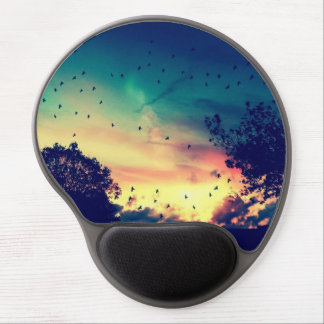 Birds colorful sky nature scenery gel mouse pad