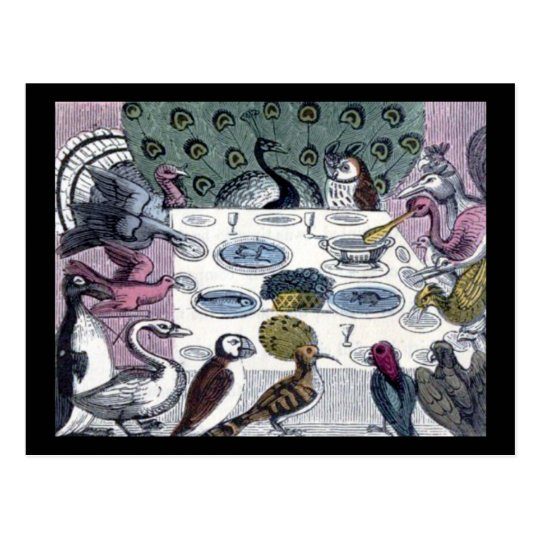 Birds Dinner Party Postcard