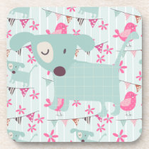 Birds, Dogs, Banners, Flowers Beverage Coaster
