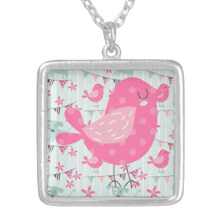Birds, Dogs, Banners, Flowers Square Pendant Necklace