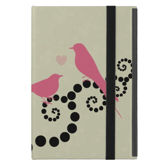 Birds, Dots, Heart, Branches, Swirls - Black Pink iPad Mini Cover