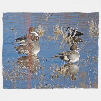 Birds Ducks Animals Pond Fleece Blanket