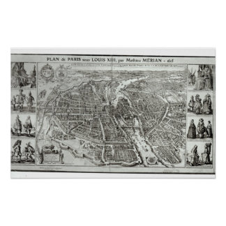 Bird's Eye Plan of Paris, 1615 Poster