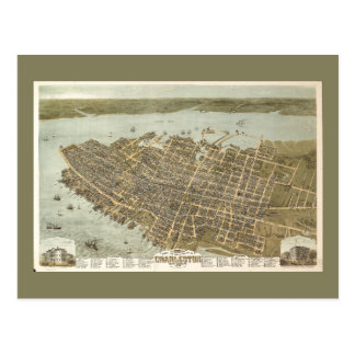 Bird's Eye View Charleston, South Carolina (1872) Postcard