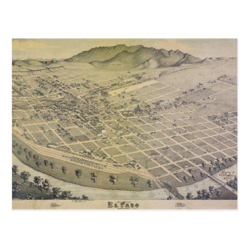 Birds Eye View El Paso El Paso County Texas 1886 Postcard