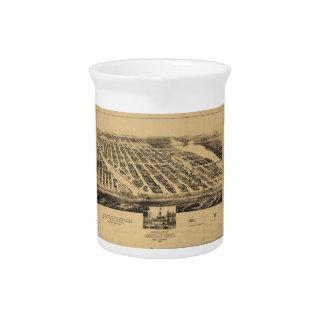 Bird's eye view Map Asbury Park New Jersey (1881) Drink Pitcher