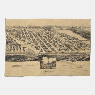 Bird's eye view Map Asbury Park New Jersey (1881) Kitchen Towel