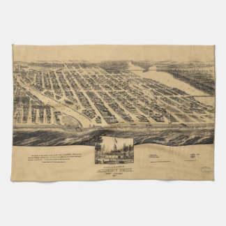 Bird's eye view Map Asbury Park New Jersey (1881) Kitchen Towels