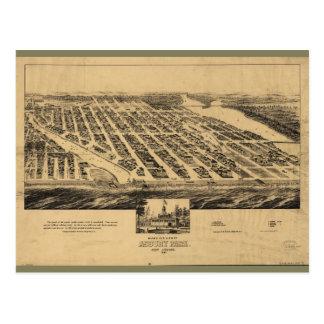 Bird's eye view Map Asbury Park New Jersey (1881) Postcard