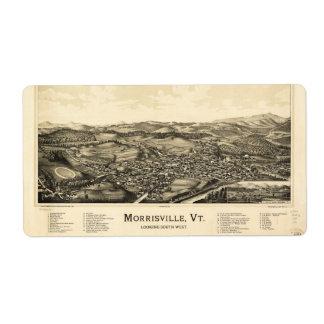 Bird's Eye View Map Morrisville Vermont (1889) Label