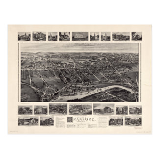 Bird's-eye view Map of Branford Connecticut (1905) Postcard