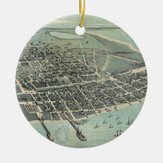 Bird's Eye View Map of Corpus Christi Texas 1887 Ceramic Ornament