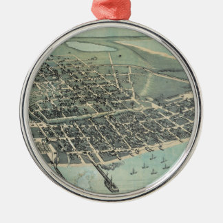 Bird's Eye View Map of Corpus Christi Texas 1887 Metal Ornament
