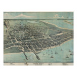 Bird's Eye View Map of Corpus Christi Texas 1887 Print