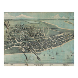 Bird's Eye View Map of Corpus Christi Texas 1887 Print