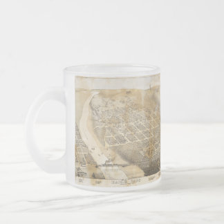 Bird's Eye View Map of Eagle Pass Texas in 1887 Frosted Glass Coffee Mug