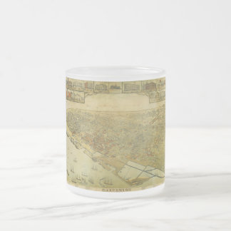 Bird's Eye View Map of Galveston Texas in 1885 Frosted Glass Coffee Mug
