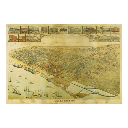 Bird's Eye View Map of Galveston Texas in 1885 Photograph