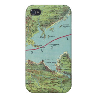 Birds Eye View Map Of New York And Vicinity iPhone 4 Case