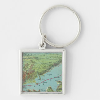 Birds Eye View Map Of New York And Vicinity Keychain
