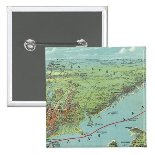 Birds Eye View Map Of New York And Vicinity Pinback Button