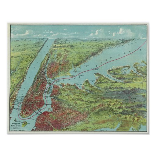 Birds Eye View Map Of New York And Vicinity Poster