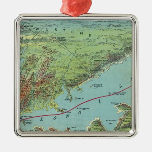 Birds Eye View Map Of New York And Vicinity Square Metal Christmas Ornament