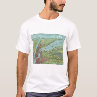 Birds Eye View Map Of New York And Vicinity T-Shirt