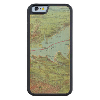 Birds Eye View Map Of New York And Vicinity Carved® Maple iPhone 6 Bumper