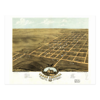 Bird's eye view Map Young America Illinois (1869) Postcard