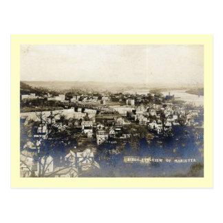 Bird's Eye View, Marietta, Ohio Vintage Postcard