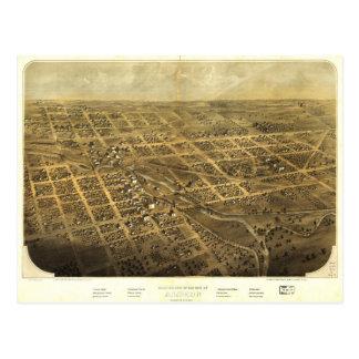 Bird's Eye View of Albion Michigan (1868) Postcard