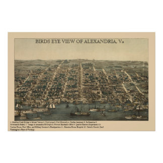 BIRDS EYE VIEW OF ALEXANDRIA, VA Civil War Map Poster
