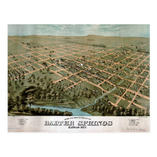 Birds eye view of Baxter Springs Kansas (1871) Postcard