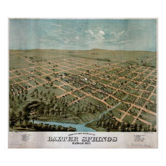 Birds eye view of Baxter Springs Kansas (1871) Poster